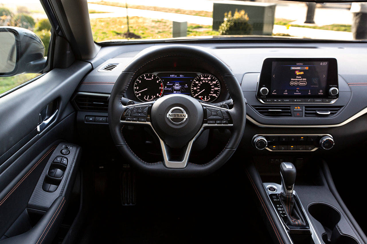 The 2020 Nissan Altima interior includes an 8-inch multimedia system with standard Android Auto and Apple CarPlay compatibility. (Manufacturer photo)