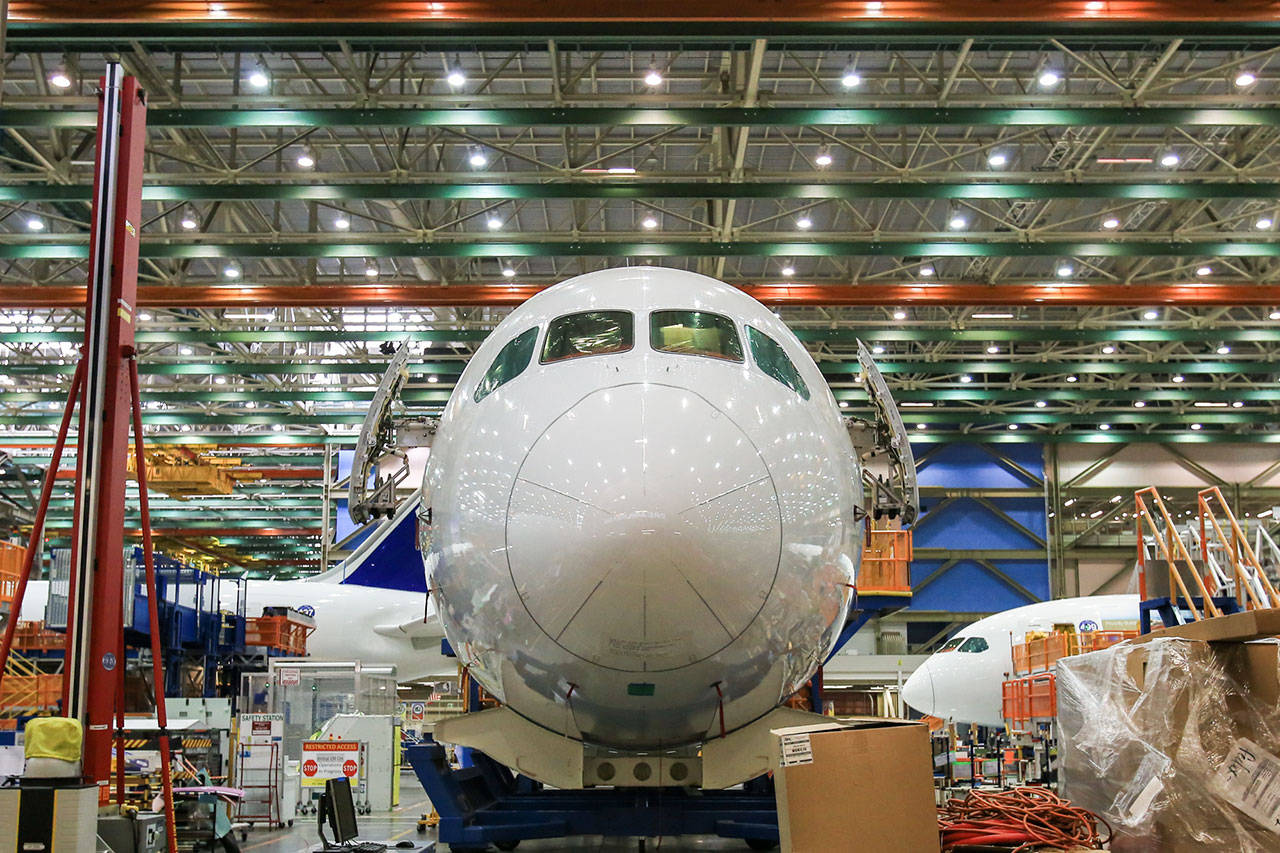 This 2016 photo shows the nose of a 787 Dreamliner at the assembly plant in Everett. (Kevin Clark / Herald file)