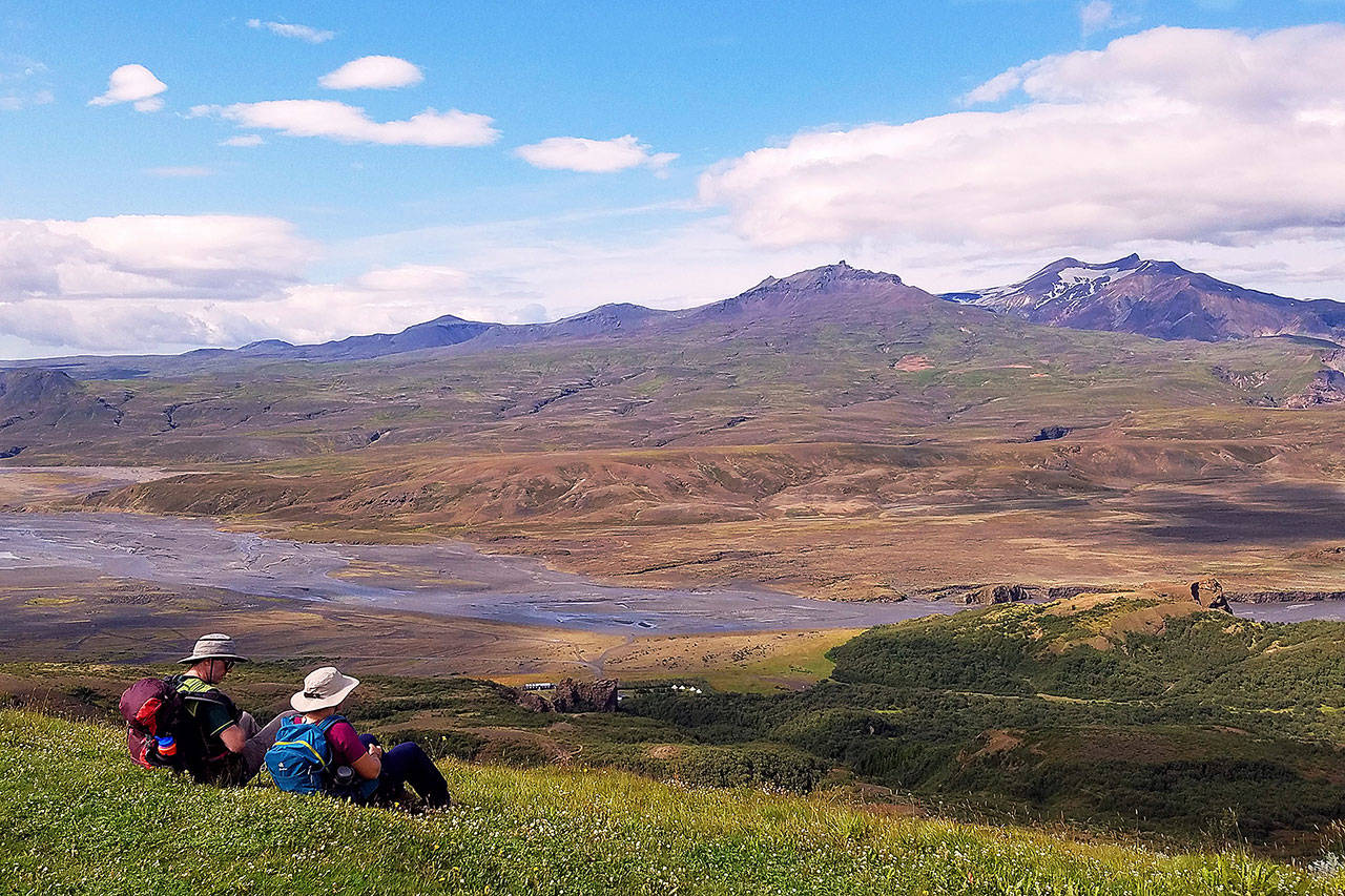 Hikers atop Valahnukur mountain in Iceland are rewarded with 360-degree views. (Rick Steves' Europe)