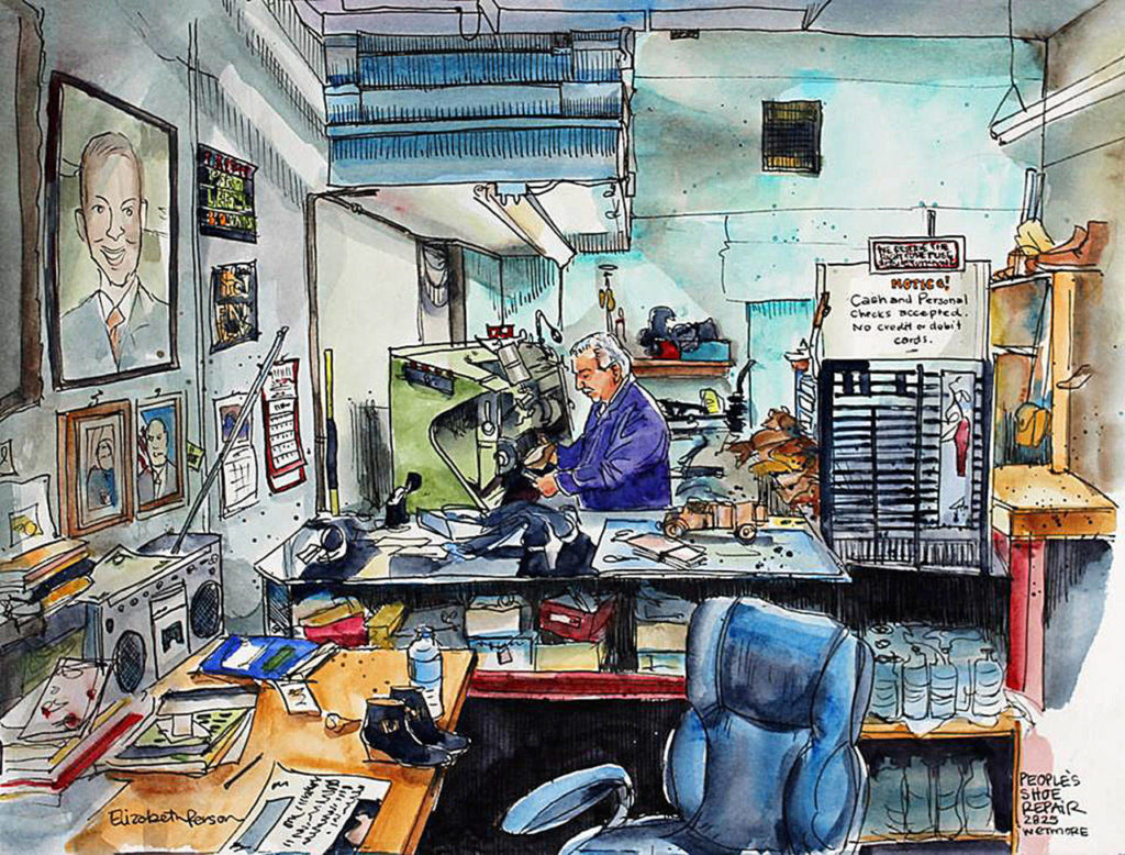 """Artist Elizabeth Person did this drawing for her Sketchy Everett series in 2016 and wrote this statement: """"A few years ago, I stumbled upon an unassuming repair shop in downtown Everett. I was greeted by blaring classical music, framed presidential portraits, stacks of newspaper paper, and rows upon rows of gleaming shoes. It's all done the old-fashioned way. On foot, in hand, by word of mouth."""""""