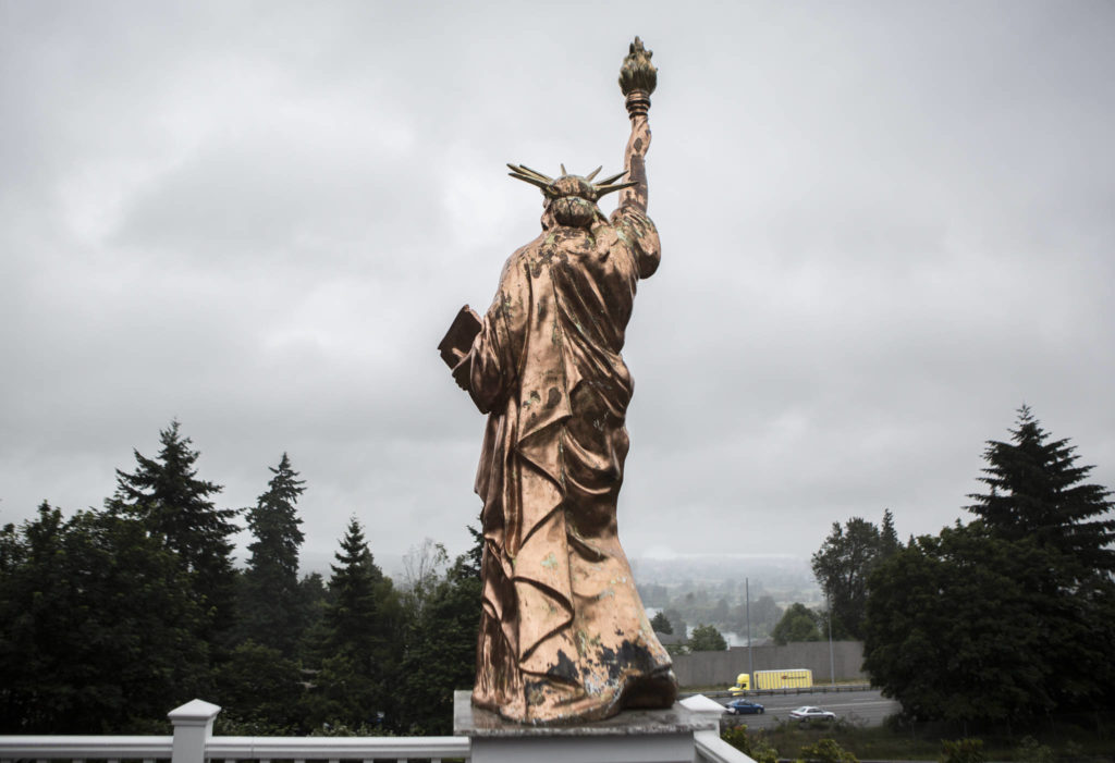 The replica statue can be seen from I-5. (Olivia Vanni / The Herald)