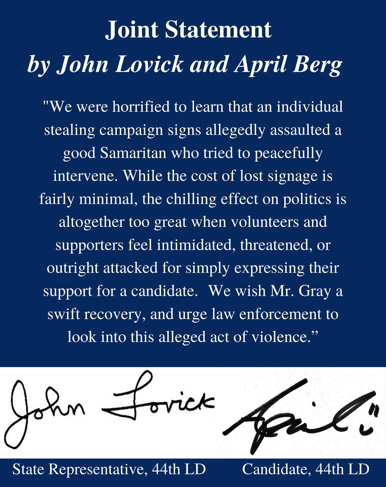 Statement from April Berg and John Lovick from Berg's Facebook page.