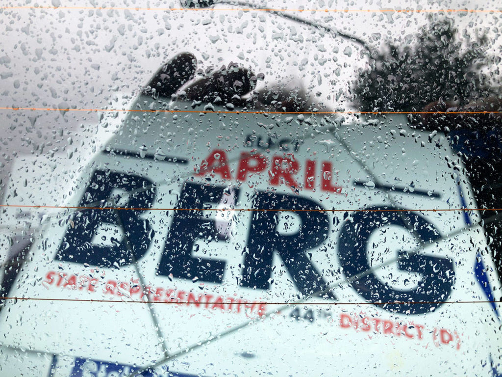 A campaign sign for April Berg sits in the back of Gary Smith's car. (Courtesy of Earl Gray)