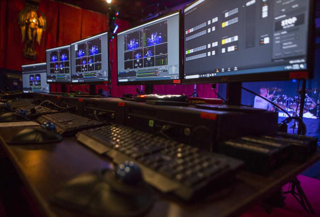The control room at SnoMad Productions, from which live shows are streamed on Facebook, Twitch and other platforms. (Olivia Vanni / The Herald)