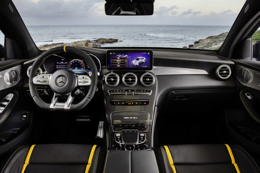 A new MBUX infotainment system upgrades the 2020 Mercedes-AMG GLC 63 S Coupe interior. (Manufacturer photo)