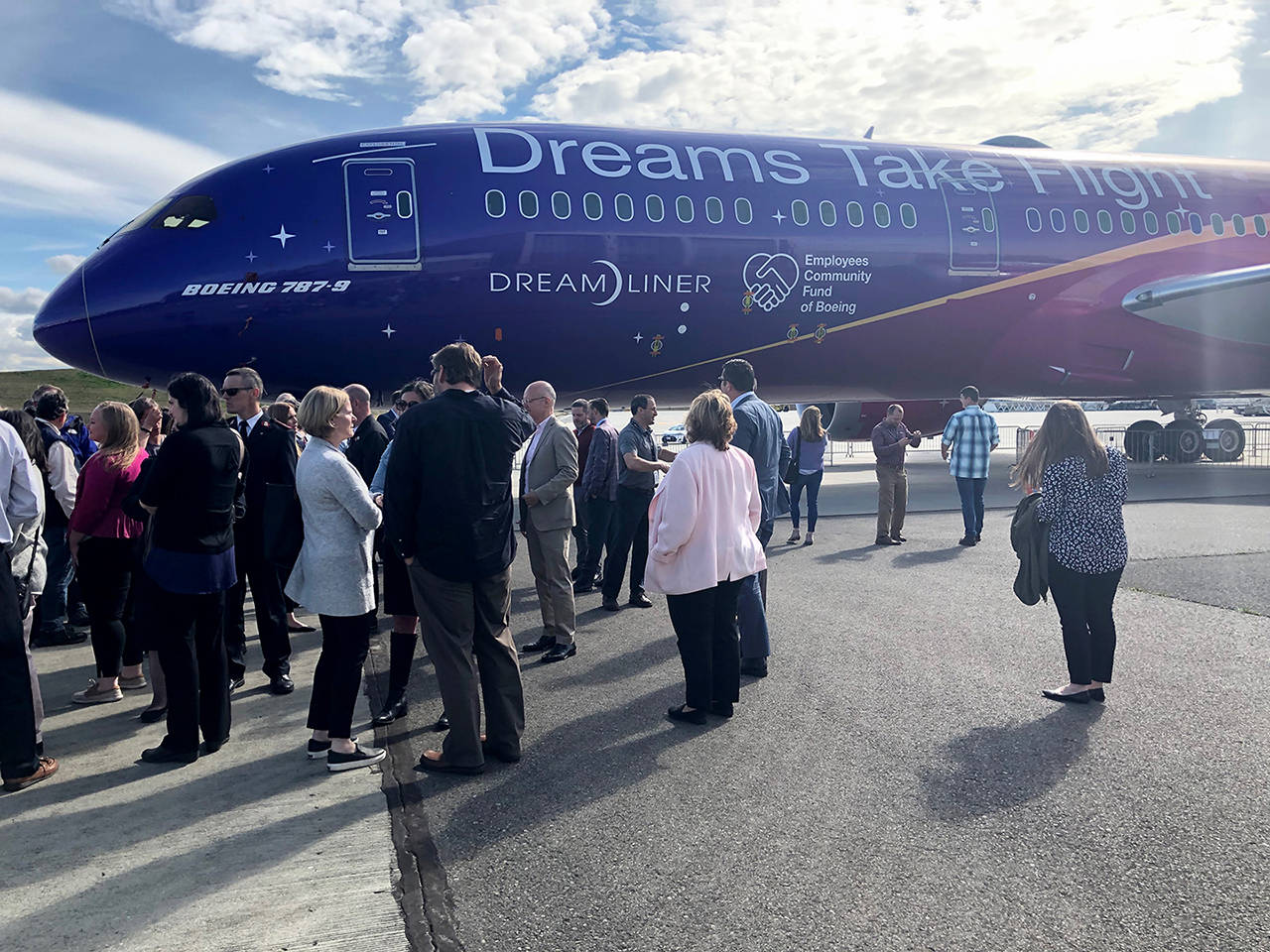 Boeing's decorated 787 Dreamliner on display at a celebration for the Boeing Employees Community Fund last year at the Boeing Future of Flight Aviation Center in Mukilteo. (Janice Podsada / Herald file)