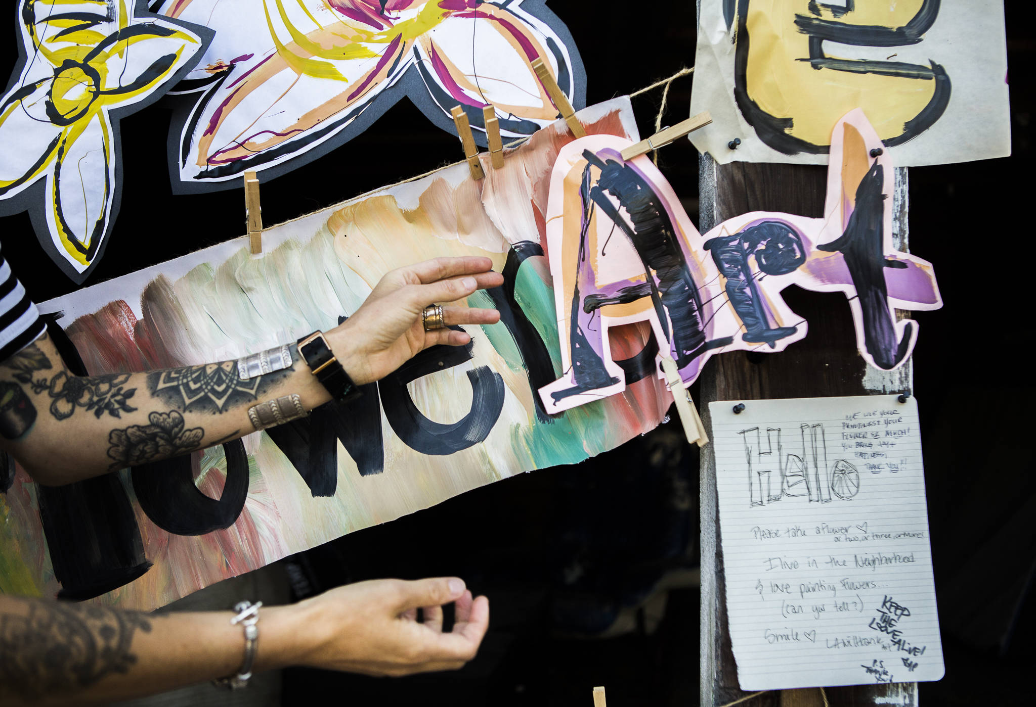Passersby have posted notes of thanks on Lennon Wiltbank's art project in Bothell. (Olivia Vanni / The Herald)