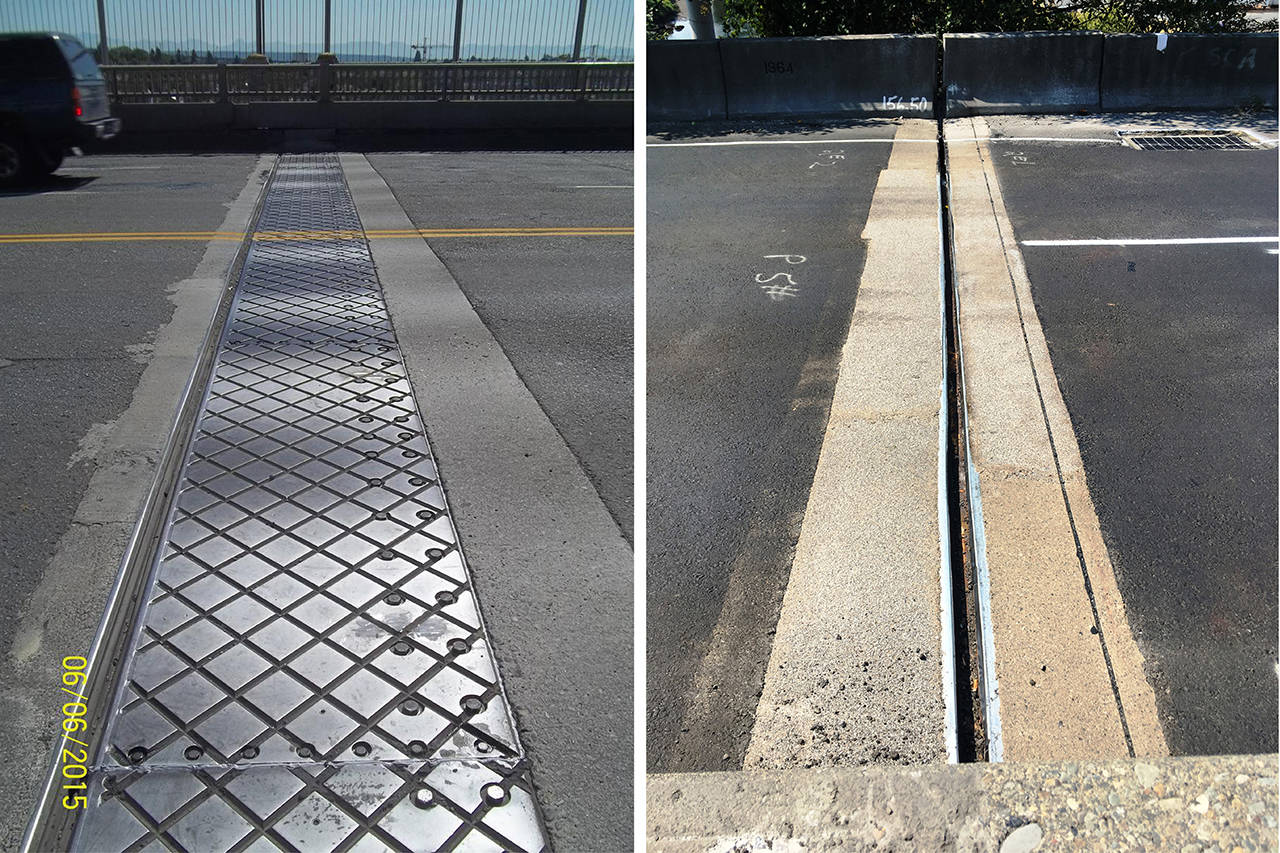Expansion joints can be constructed in different ways under state design standards for bridges. Shown is a plate cover joint (left) on the Highway 99 George Washington Memorial Bridge over Lake Union in Seattle and a concrete header joint (right) on southbound I-5 at the Duwamish River in Tukwila. These are similar to two types of expansion joints now used on the U.S. 2 bridge over the Pilchuck River in Snohomish County. (WSDOT photos)