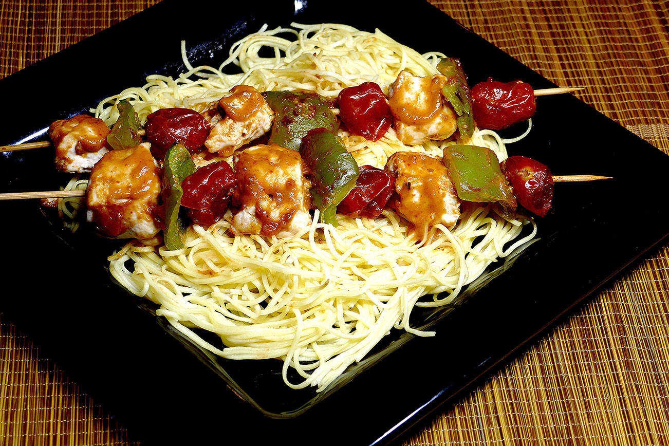 Thai Chicken Kabobs with Noodles. (Linda Gassenheimer/TNS)