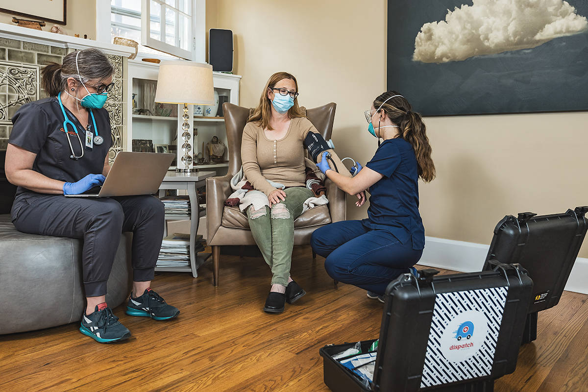 A Dispatch Health house call offers the same convenience of telemedicine but specializes in supplying acute medical treatment for situations requiring or benefiting from in-person consultation and medical assistance.