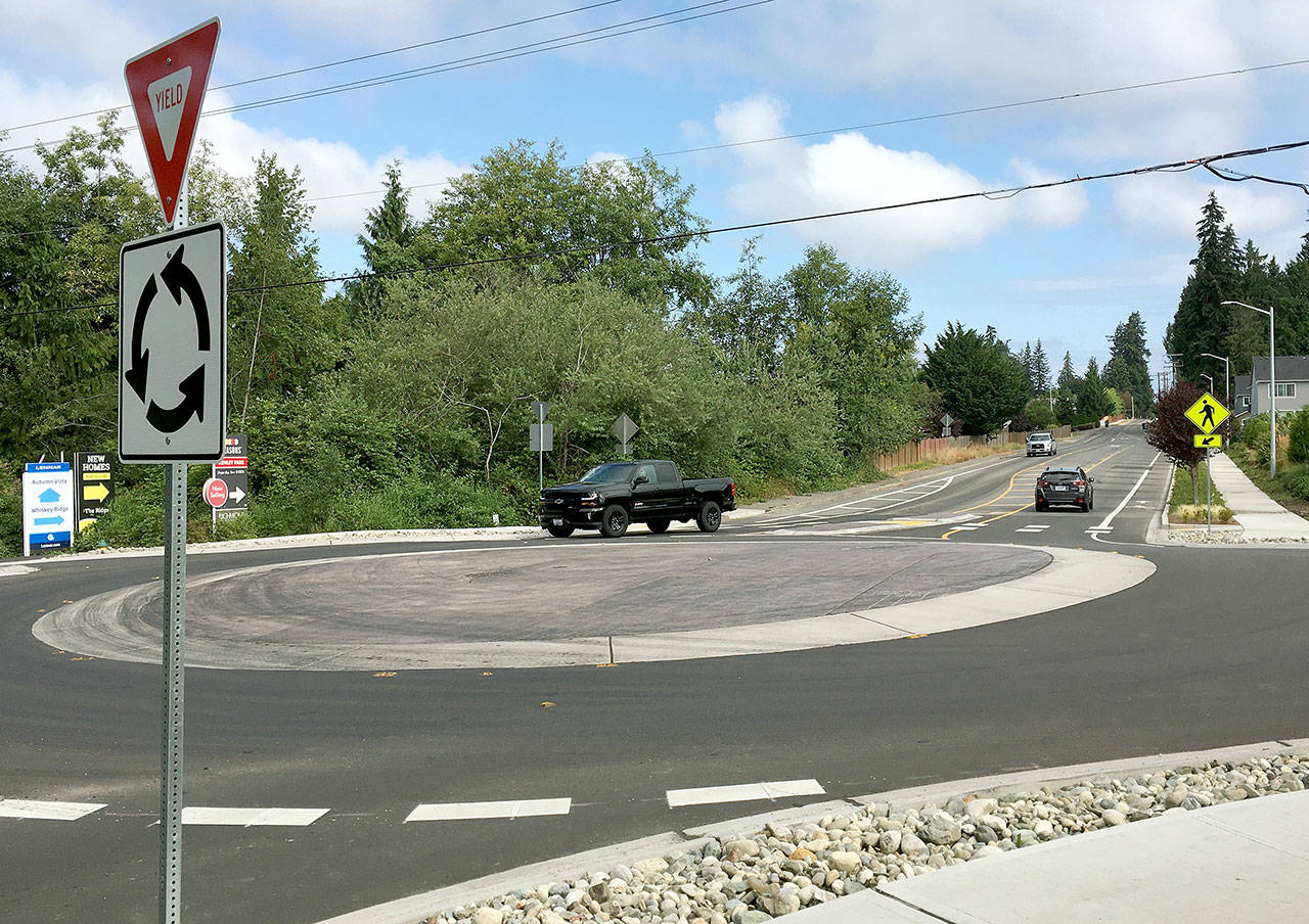 A mini-roundabout on the border of Lake Stevens and Marysville was completed recently ahead of schedule and under budget. The new traffic control structure is at 83rd Avenue Northeast and Soper Hill Road, an area that's seen steady home development over the past decade. (City of Marysville)