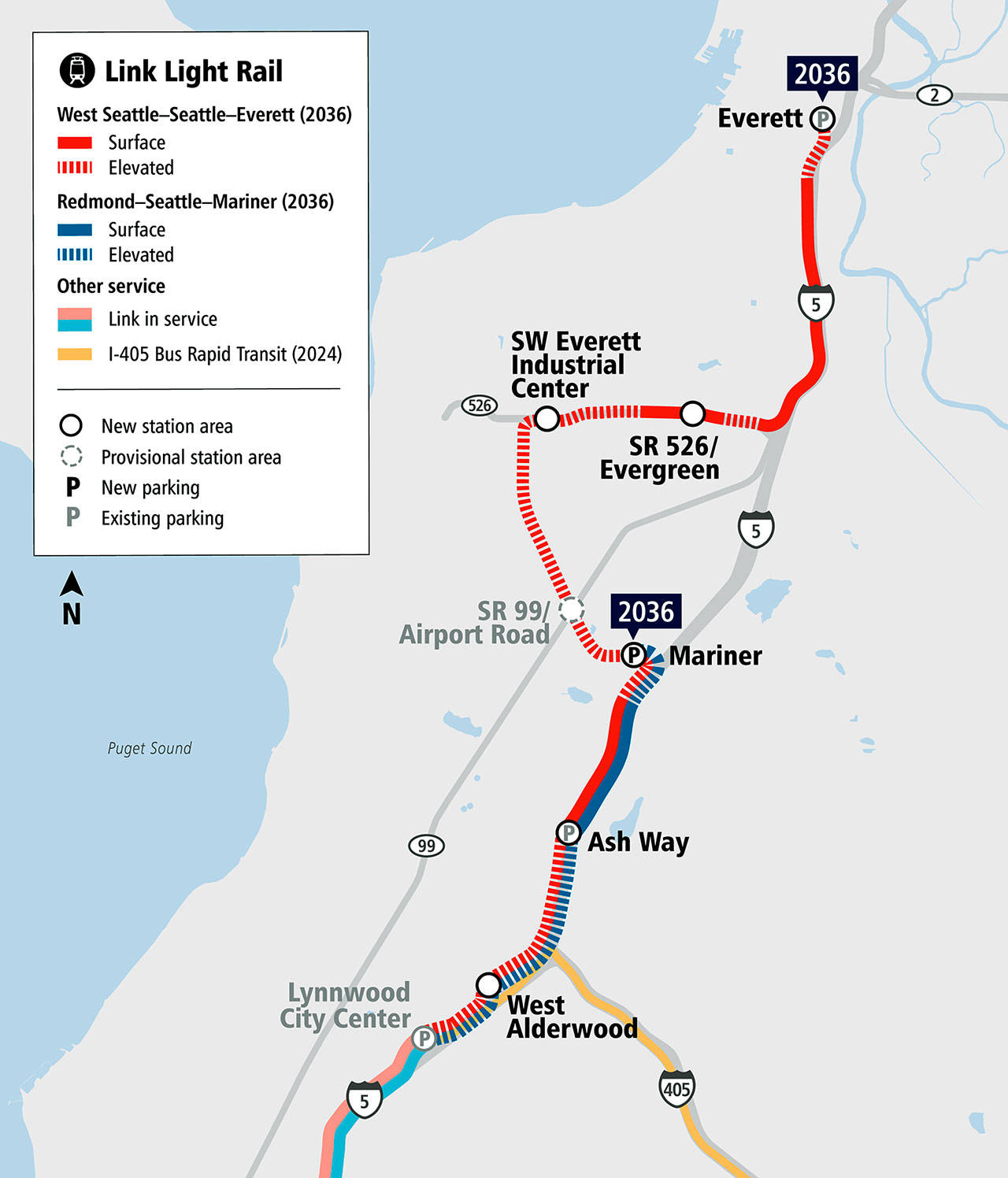A map of the planned Sound Transit Link light rail extension to Everett. (Sound Transit)