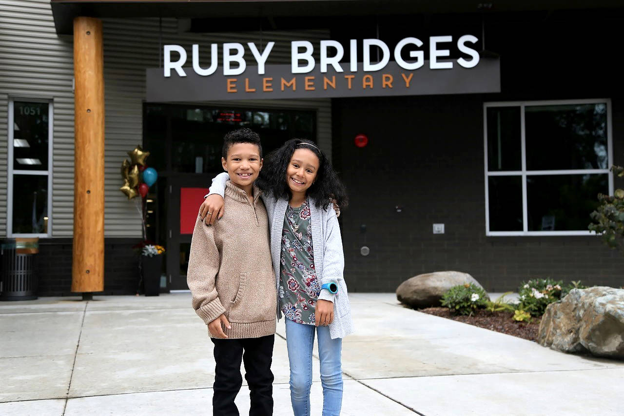 Nevaeh Liburd (right), a fourth-grader at the new Ruby Bridges Elementary School, with her third-grade brother, Ade Liburd. On Sept. 2, Nevaeh spoke with the school's namesake, Ruby Bridges, during a virtual assembly. (Northshore School District photo)