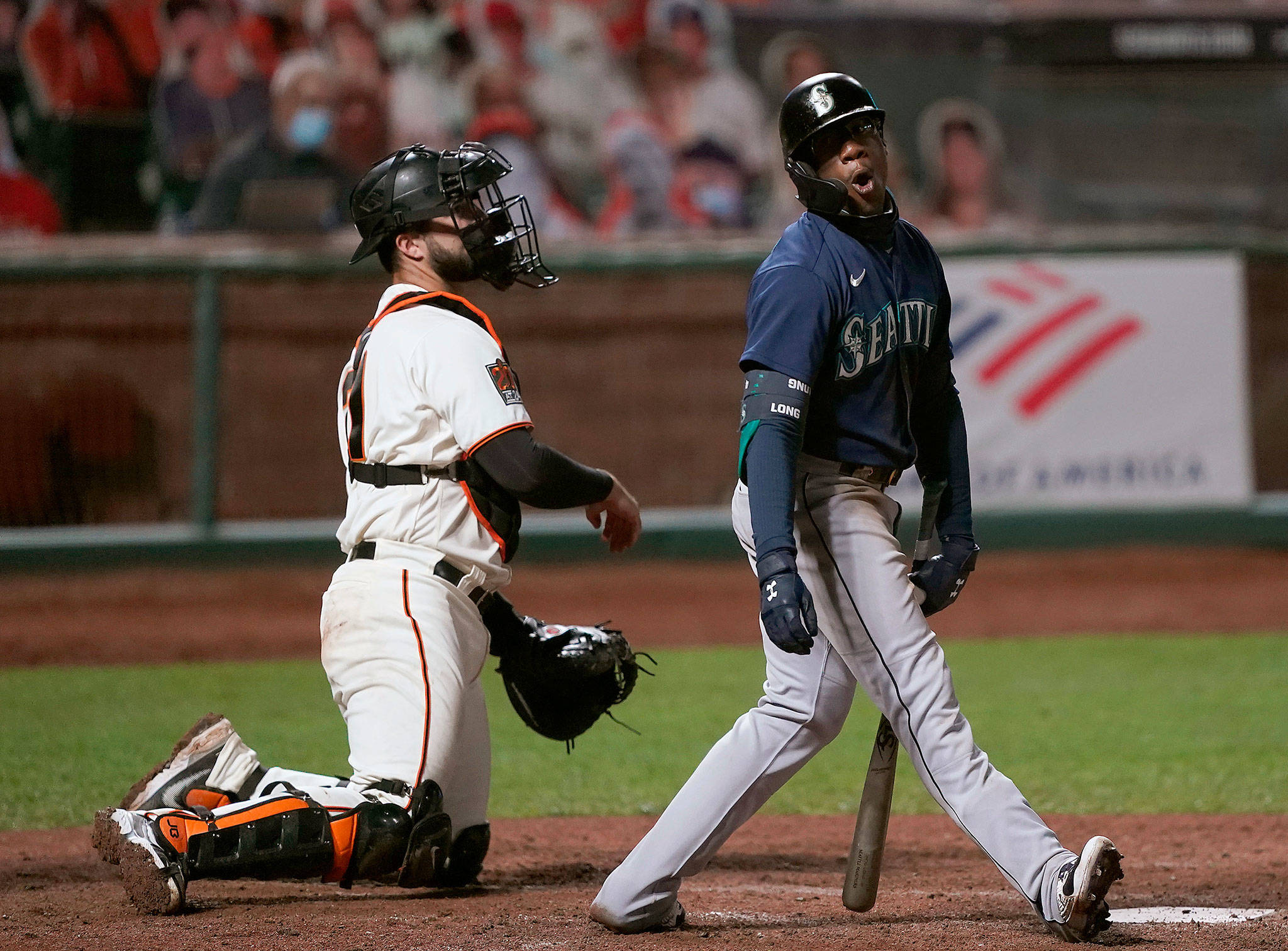 The Mariners' Shed Long Jr. reacts after striking out against the Giants during the sixth inning of a game Sept. 8, 2020, in San Francisco. (AP Photo/Tony Avelar)