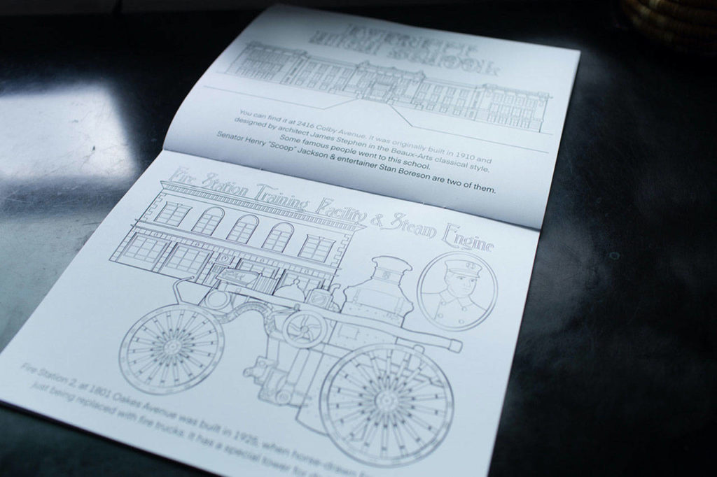 Historic Everett's new coloring book features illustrations of notable architecture around the city. (Josh Jones)