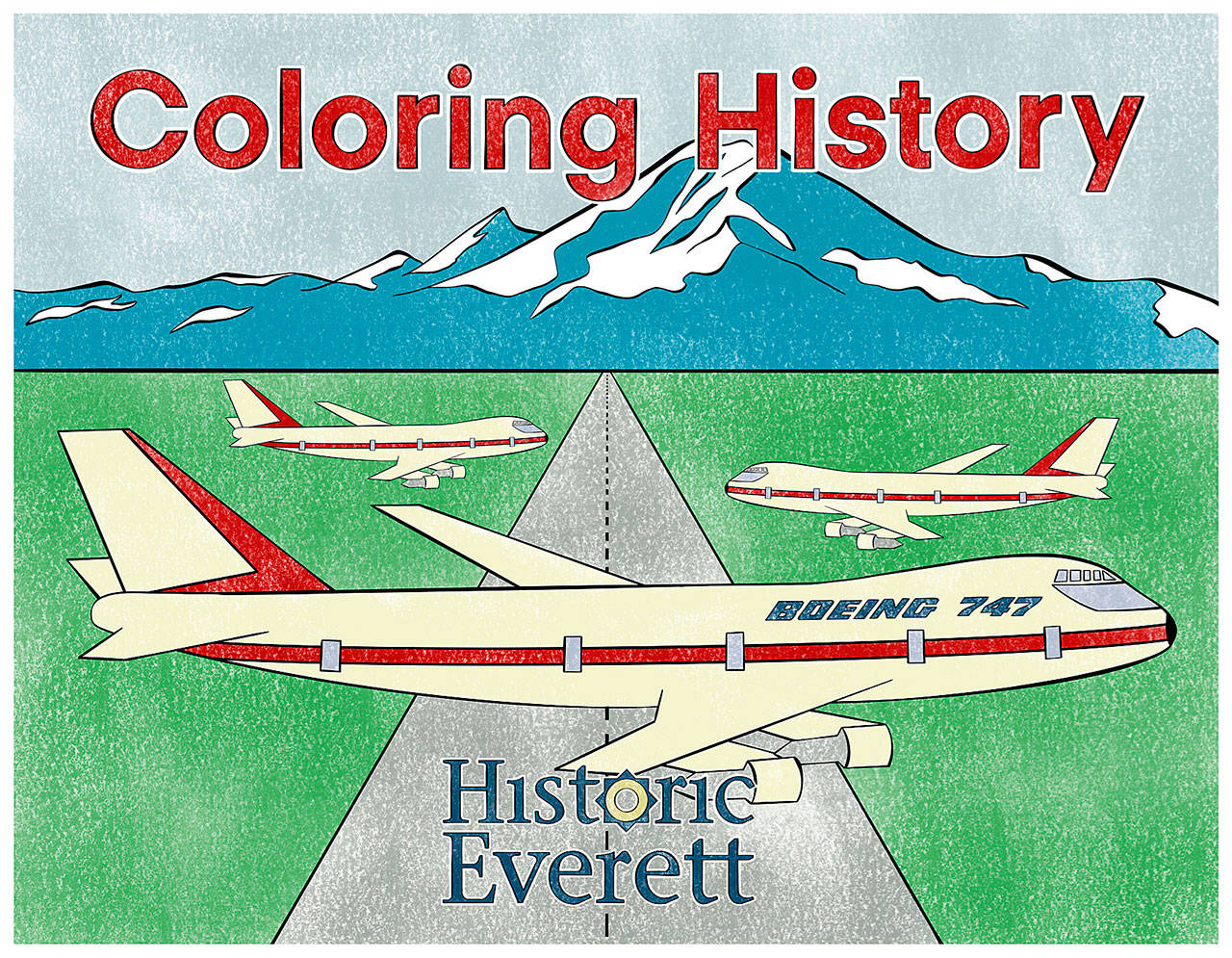 """Historic Everett is holding a coloring contest featuring pages from its """"Coloring History"""" coloring book. The deadline to enter is Sept. 15. (Historic Everett)"""