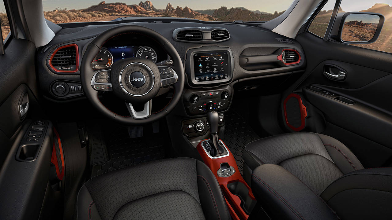 An upgraded Uconnect infotainment system with 8-inch touchscreen is available on the 2020 Jeep Renegade. The Trailhawk interior is shown here. (Manufacturer photo)