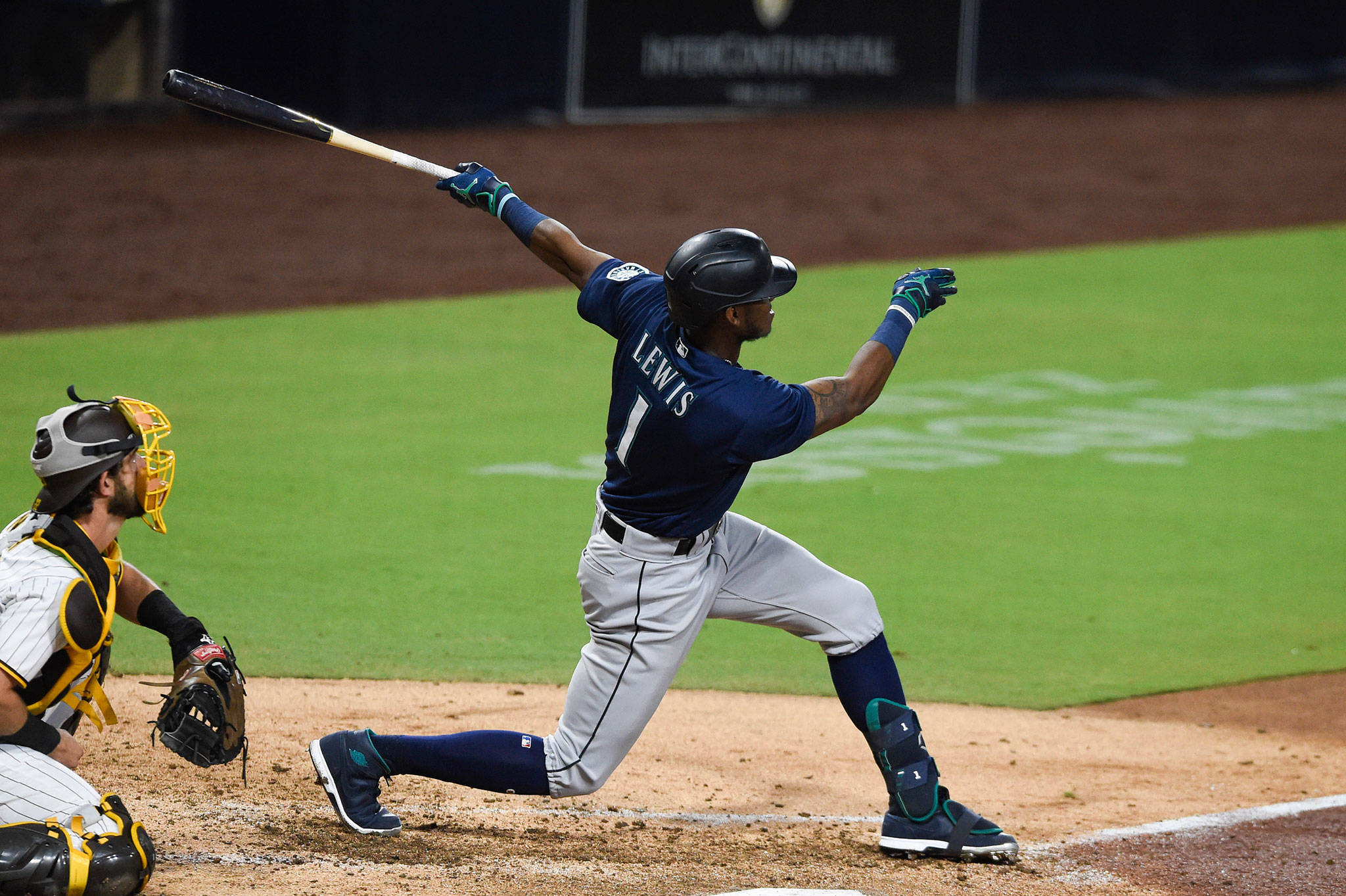The Mariners' Kyle Lewis (1) hits a solo home run during the fifth inning of a game against the Padres on Sept. 19, 2020, in San Diego. (AP Photo/Denis Poroy)