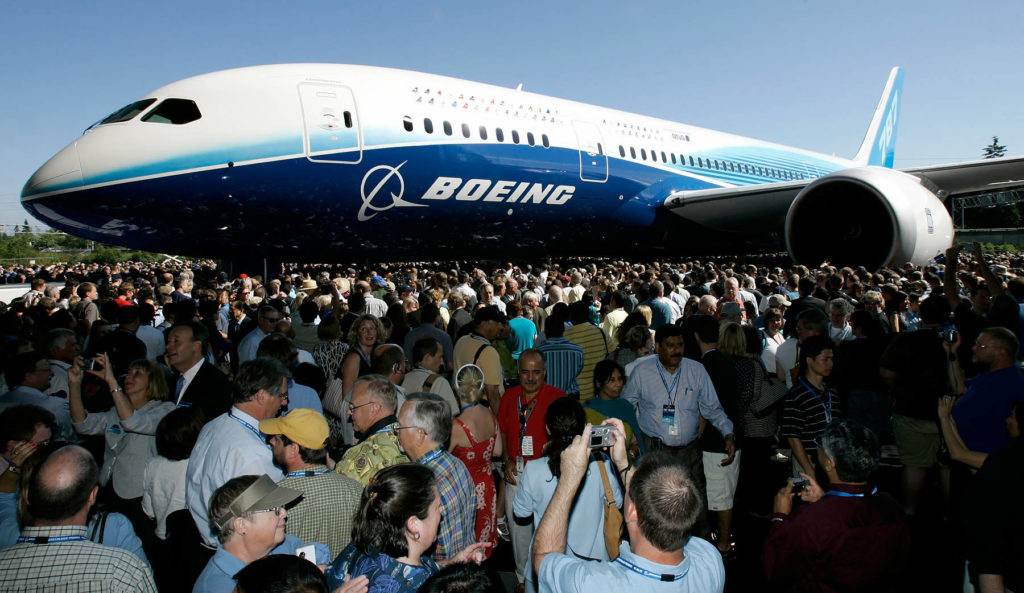 The first production model of the new Boeing 787 Dreamliner airplane is unveiled to an audience of several thousand employees, airline executives, and dignitaries during a ceremony July 8, 2007, at Boeing's assembly plant in Everett. (AP Photo/Ted S. Warren, file)