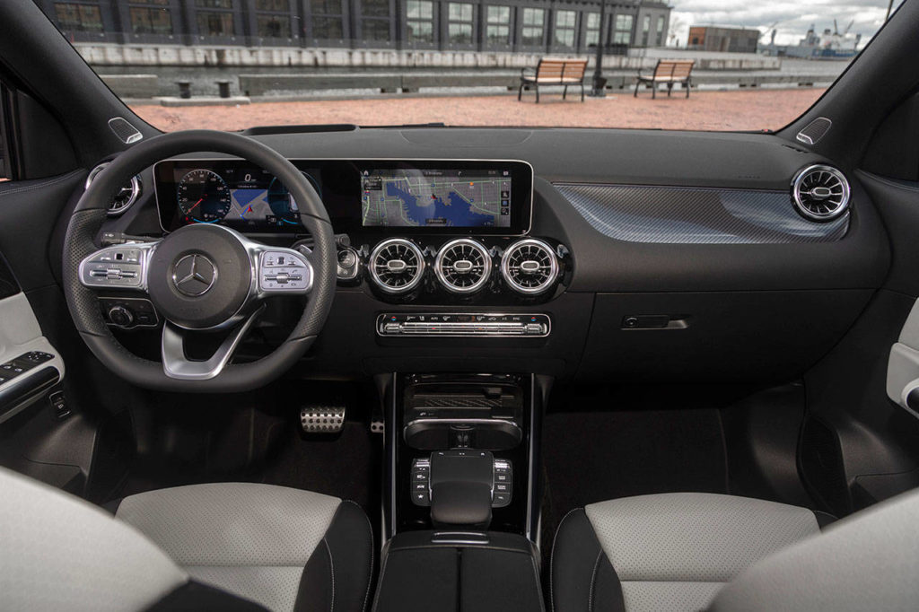 The 2021 Mercedes-Benz GLA 250 has an optional display panel incorporating the gauges and infotainment system. (Manufacturer photo)