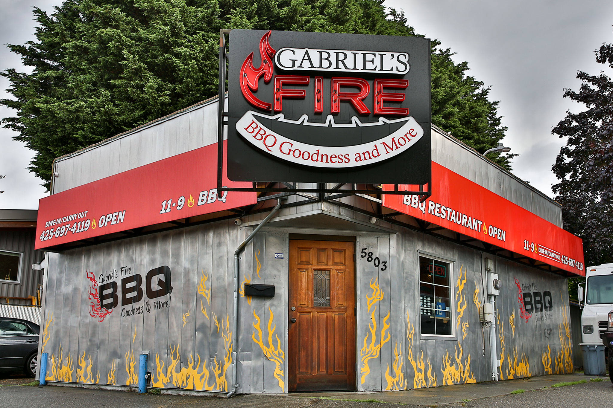 Gabriel's Fire has closed its small dining area to comply with state COVID regulations. (Kevin Clark / The Herald)