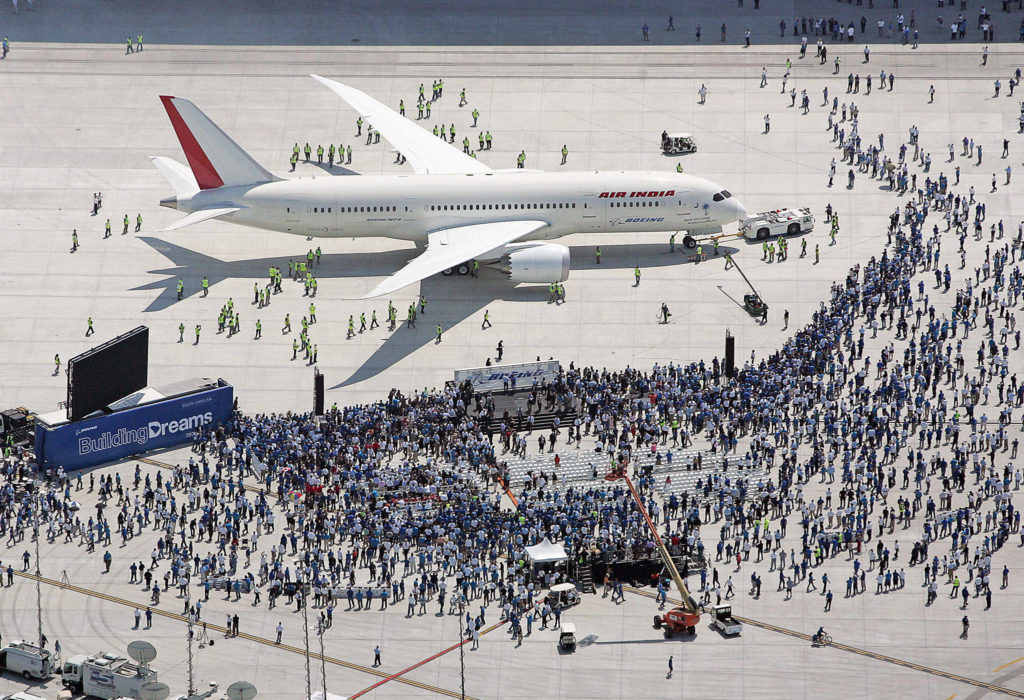 Boeing rolls out the first 787 assembled in South Carolina on April 27, 2012 in Charleston, South Carolina. (Leroy Burnell / The Post and Courier, file)