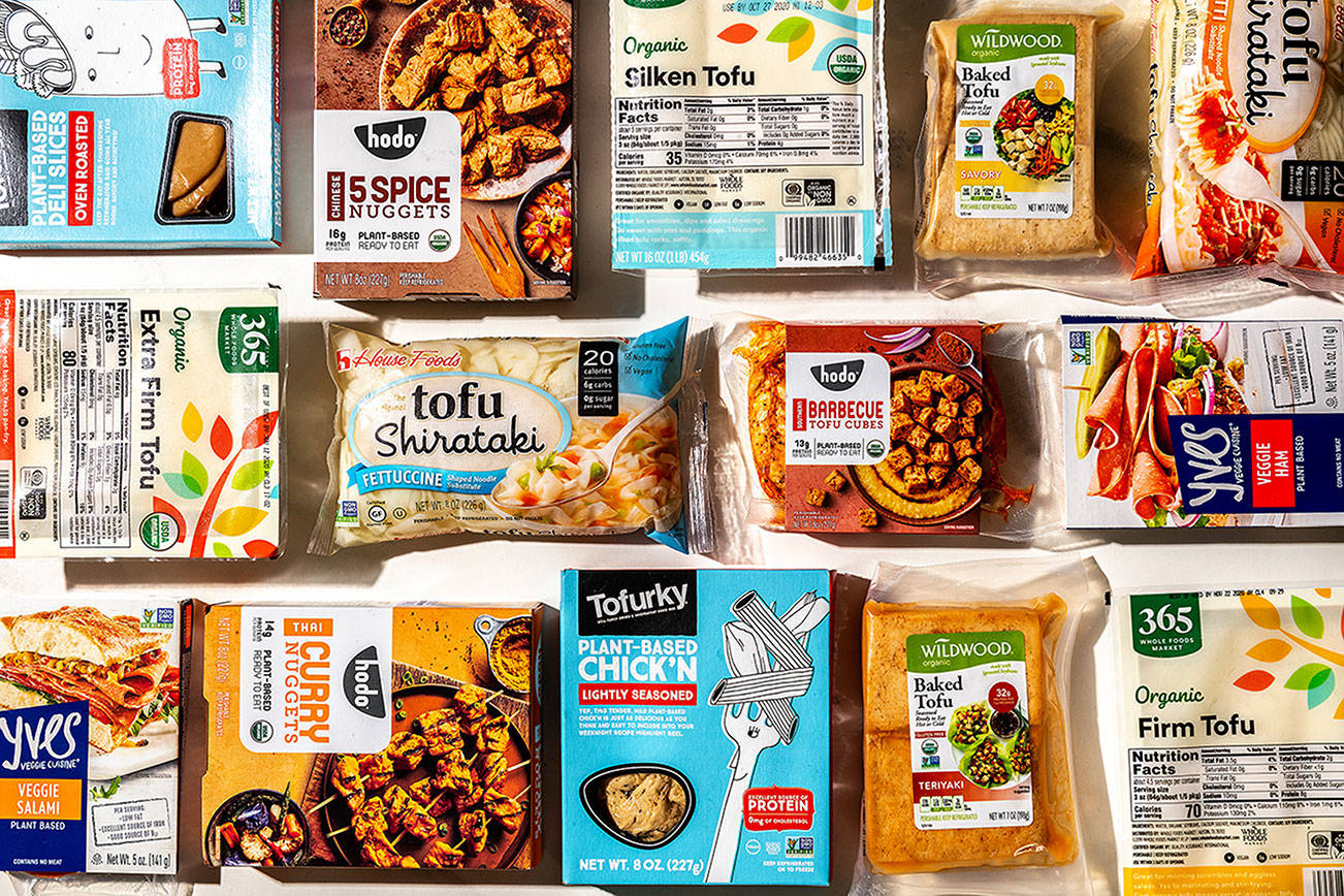 Tofu products have been in high demand since U.S. coronavirus shutdowns began in mid-March. MUST CREDIT: Photo for The Washington Post by Laura Chase de Formigny