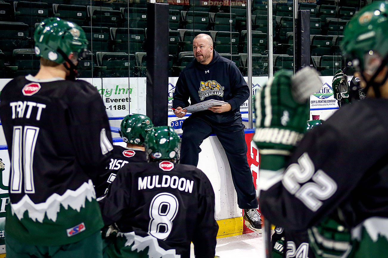 Turner Stevenson addresses the team during practiice Wednesday afternoon at Xfinity Arena in Everett on January 11, 2017. (Kevin Clark / The Herald)