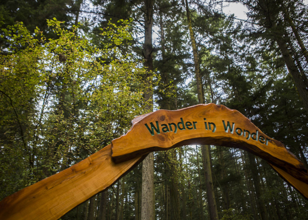 """The """"Wander In Wonder"""" archway to the new Price Sculpture Forest was created by Michael Hauser and Ken Price. (Olivia Vanni / The Herald)"""
