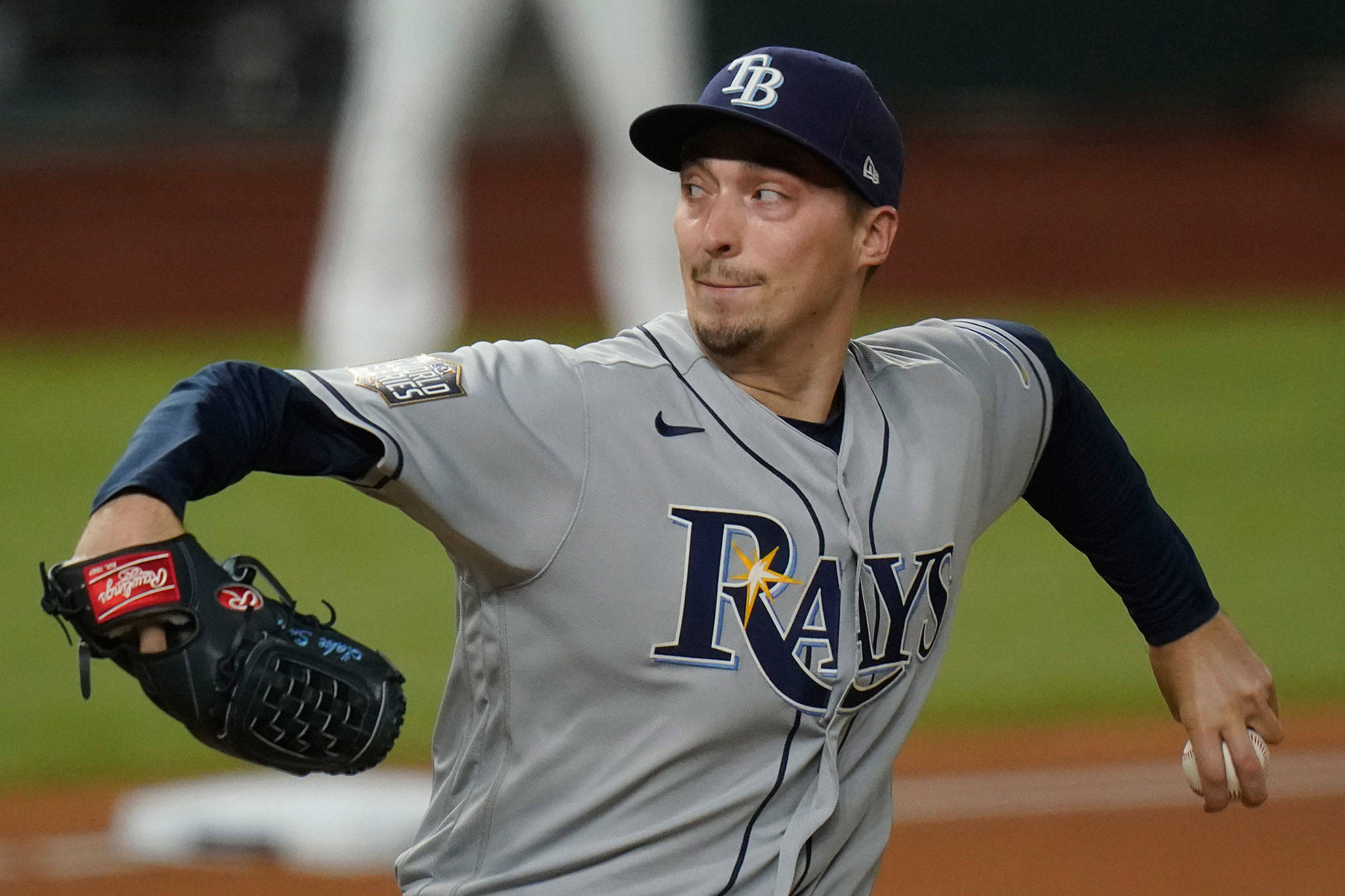 Rays starting pitcher Blake Snell, a Shorewood High School alum, throws against the Dodgers during the first inning of Game 2 of the World Series on Oct. 21, 2020, in Arlington, Texas. (AP Photo/Eric Gay)