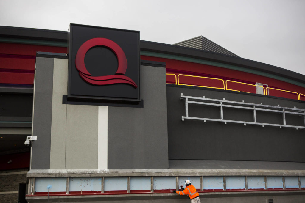 Construction continues on the new Quil Ceda Creek Casino on Wednesday in Tulalip. (Olivia Vanni / The Herald)