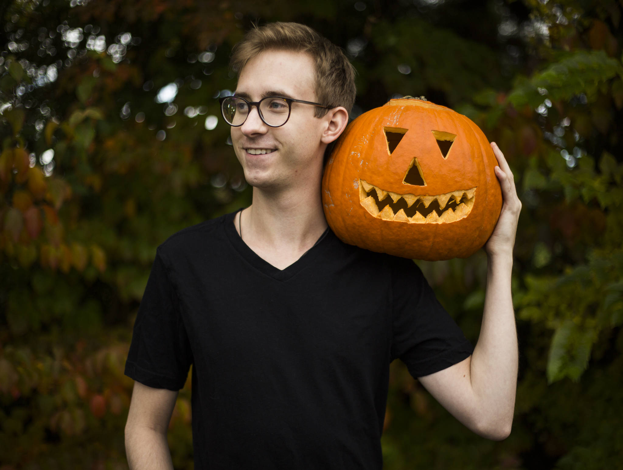 """Brett Kelly, 24, of Lake Stevens, created a """"Pumpkin Man"""" video for TikTok that was picked up by the CBS show """"The Greatest #AtHome Videos."""" (Olivia Vanni / The Herald)"""