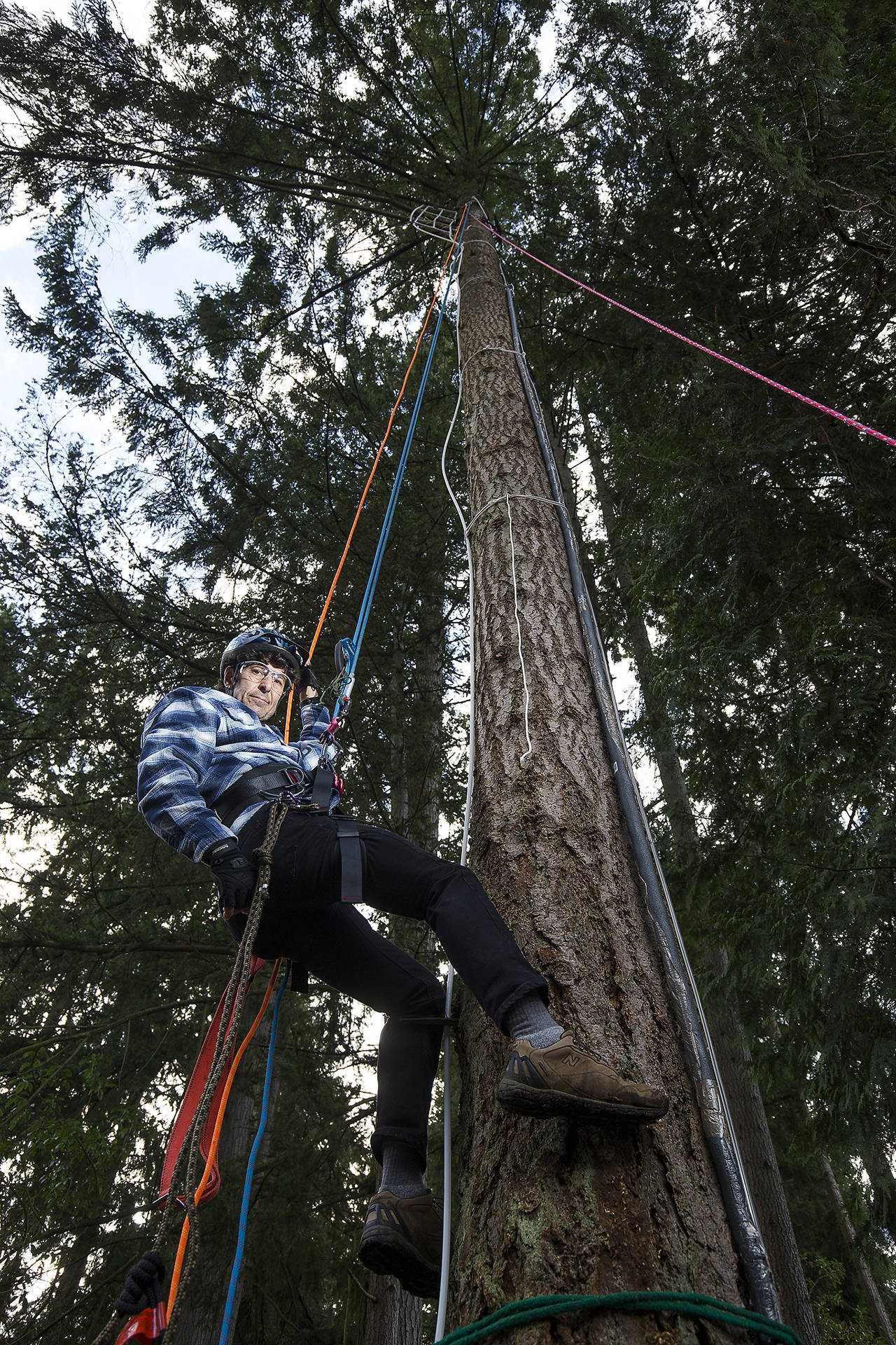 It takes ropes and some climbing for Scott Greeley to work on his energy-saving distillation system, built 43 feet up in Edmonds. (Andy Bronson / The Herald)
