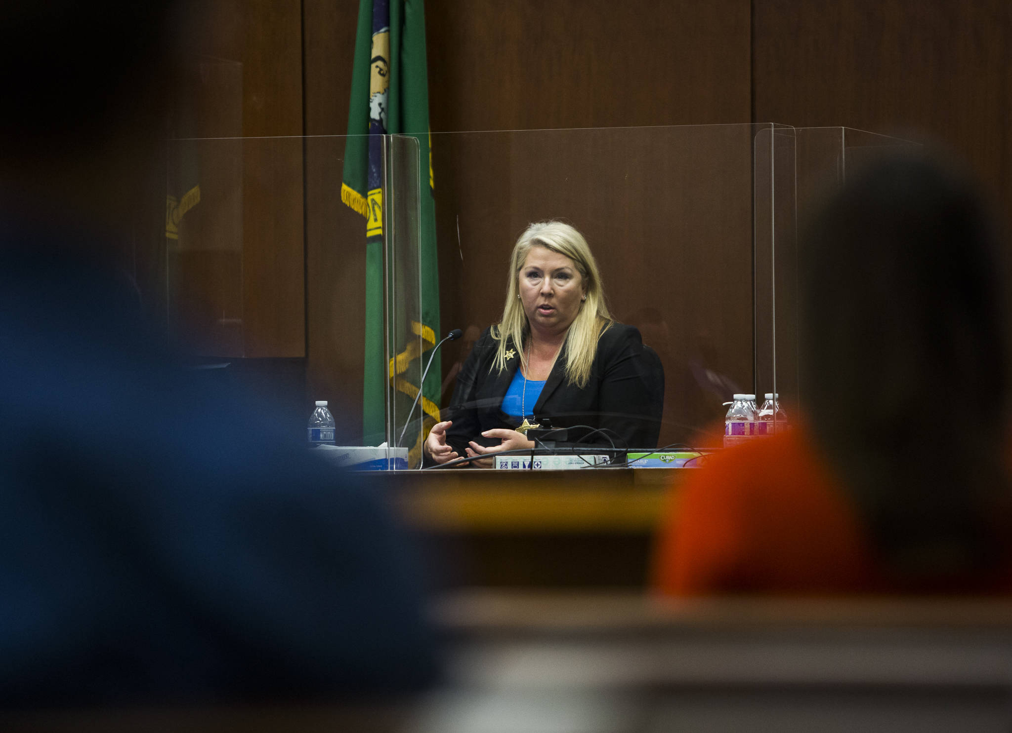 Olivia Vanni / The Herald Snohomish County sheriff's detective Kendra Conley testifies in the cold case murder trial of Terrence Miller at the Snohomish County Courthouse on Thursday in Everett.