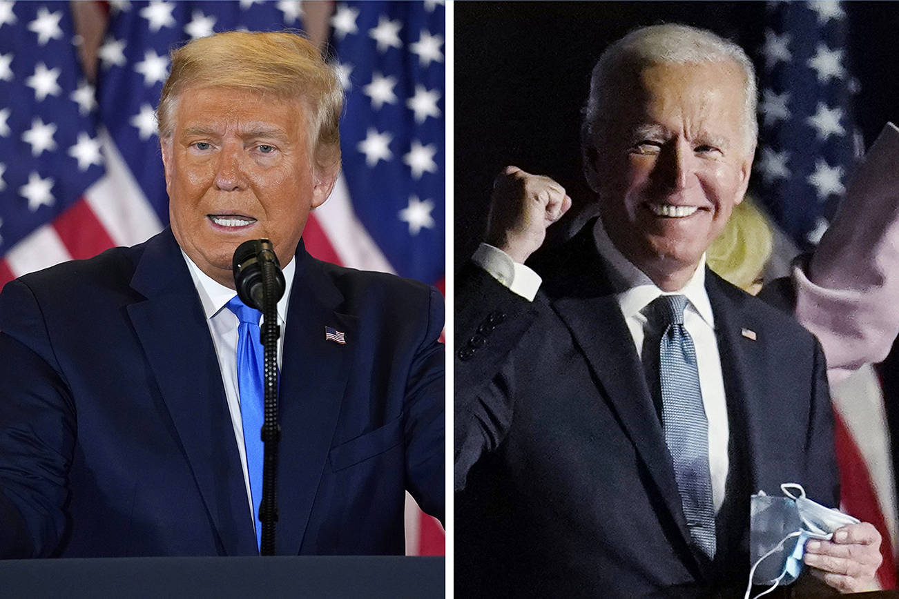 President Donald Trump speaks in the East Room of the White House early Wednesday (AP Photo/Evan Vucci), and former Vice President Joe Biden speaks to supporters early Wednesday in Wilmington, Delaware (AP Photo/Paul Sancya).