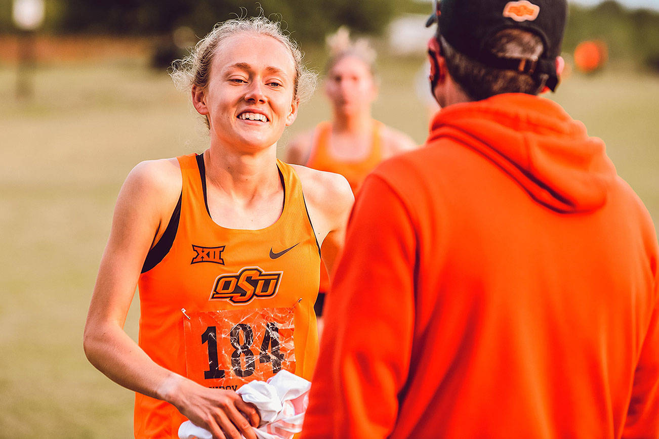 Oklahoma State distance runner Taylor Roe, a Lake Stevens High School graduate, finished second at the Big 12 Cross Country Championship on Oct. 30, 2020, in Lawrence, Kansas. (Oklahoma State photo)