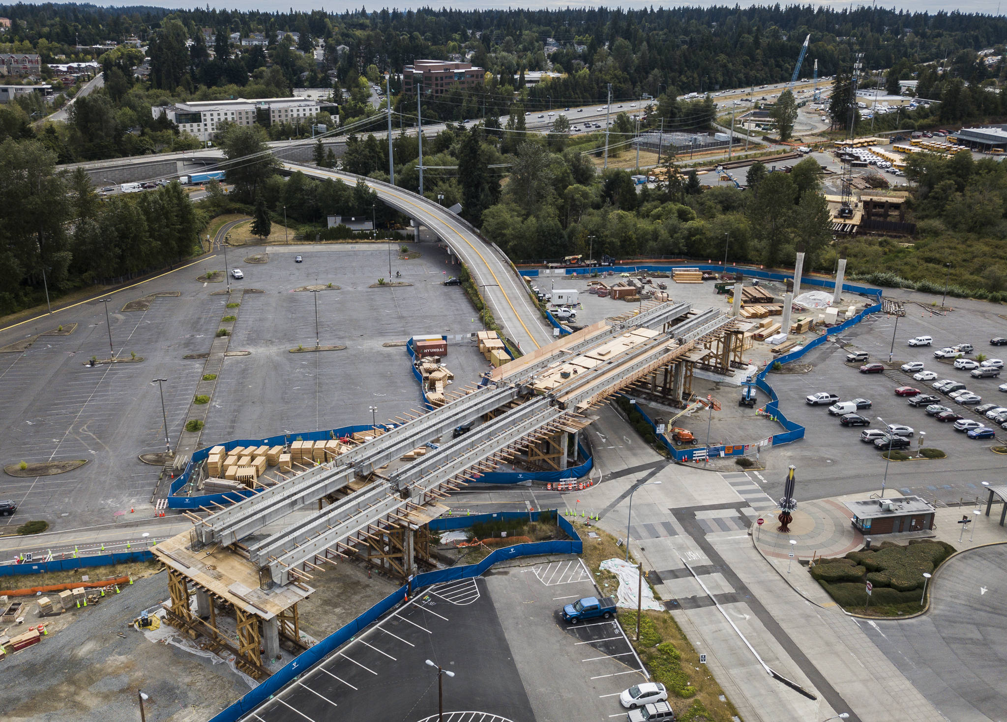 The Lynnwood Transit Center light rail station under construction in August. (Olivia Vanni / The Herald)