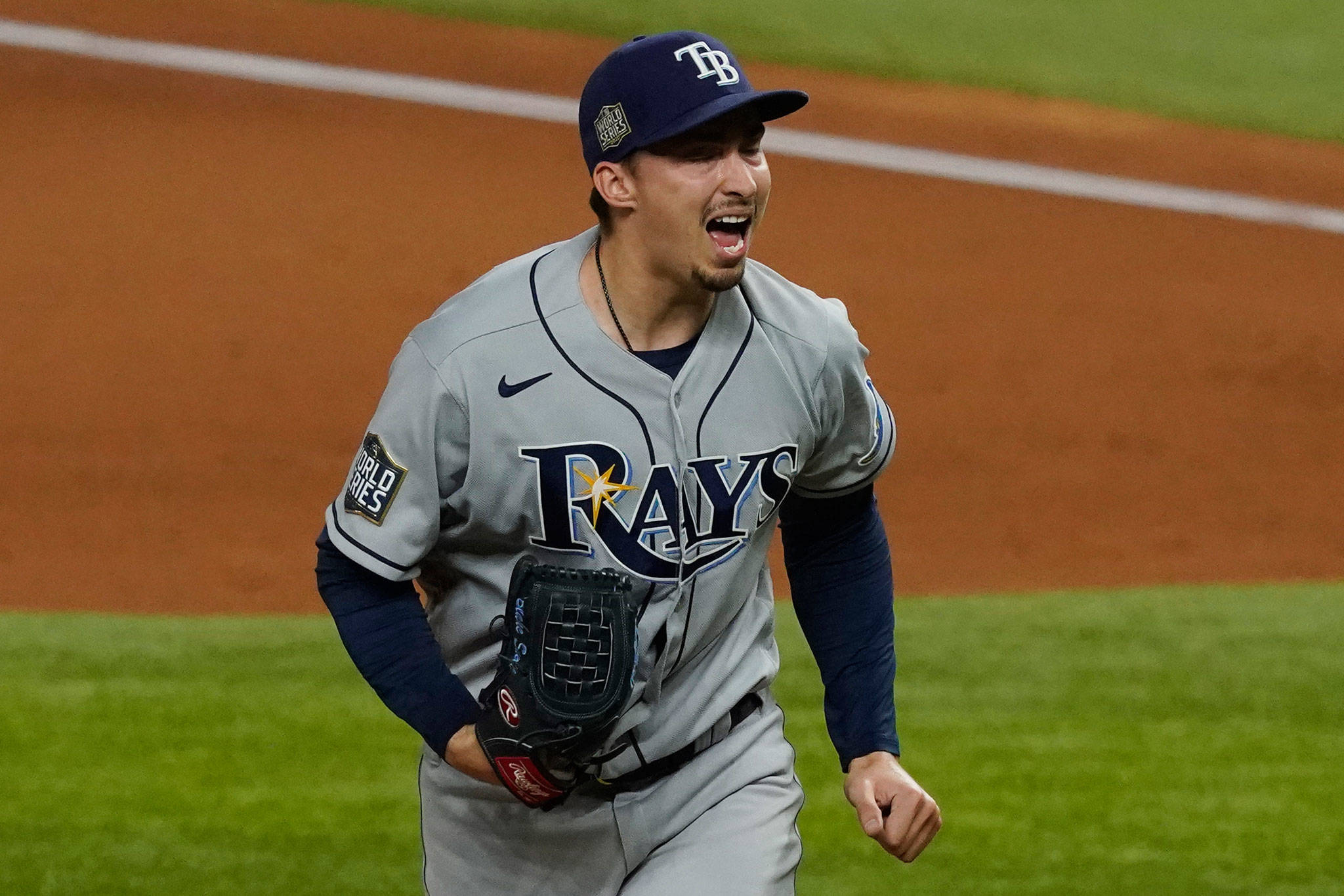 Rays starting pitcher Blake Snell, a Shorewood High School graduate, celebrates after striking out the side during the fourth inning of Game 6 of the World Series against the Dodgers on Oct. 27, 2020, in Arlington, Texas. (AP Photo/Tony Gutierrez)