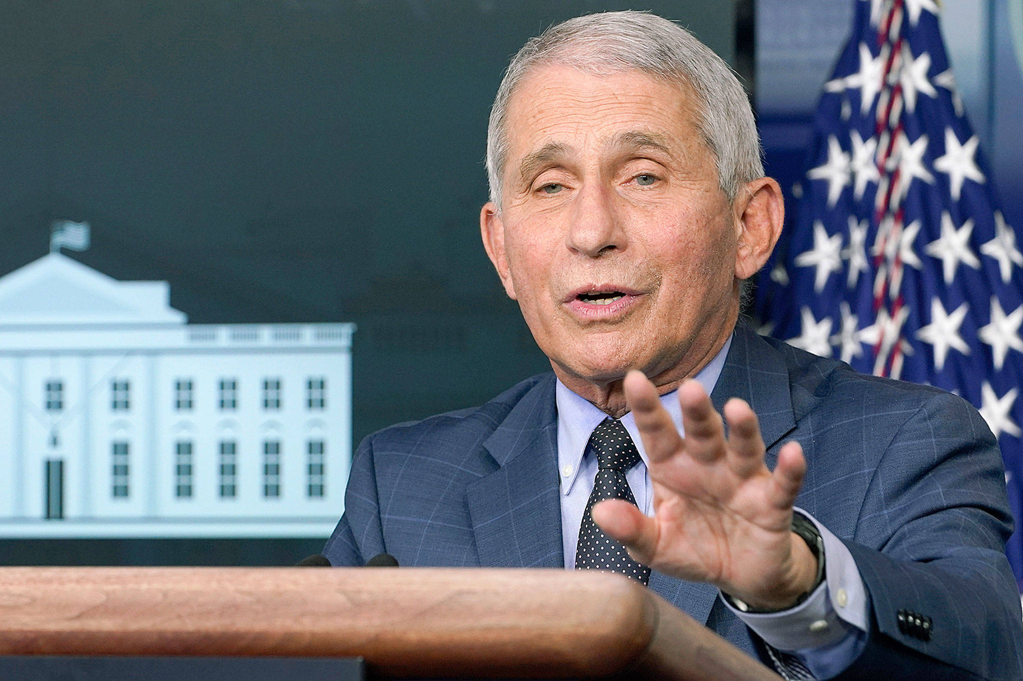 Dr. Anthony Fauci, director of the National Institute for Allergy and Infectious Diseases, speaks Nov. 19 during a news conference with the coronavirus task force at the White House in Washington, D.C. (AP Photo/Susan Walsh)