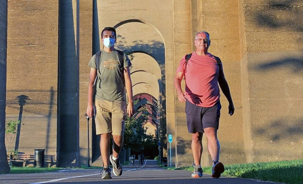 Fred Sirianni, 55, of Marysville, and his son, Jake Sirianni, 24, walked 40 miles from Jake's apartment in New York City to Stamford, Connecticut. Jake wore a Marysville T-shirt during the 19-hour walk starting at 2:57 a.m. Sept. 5 over Labor Day weekend. (Submitted photo)