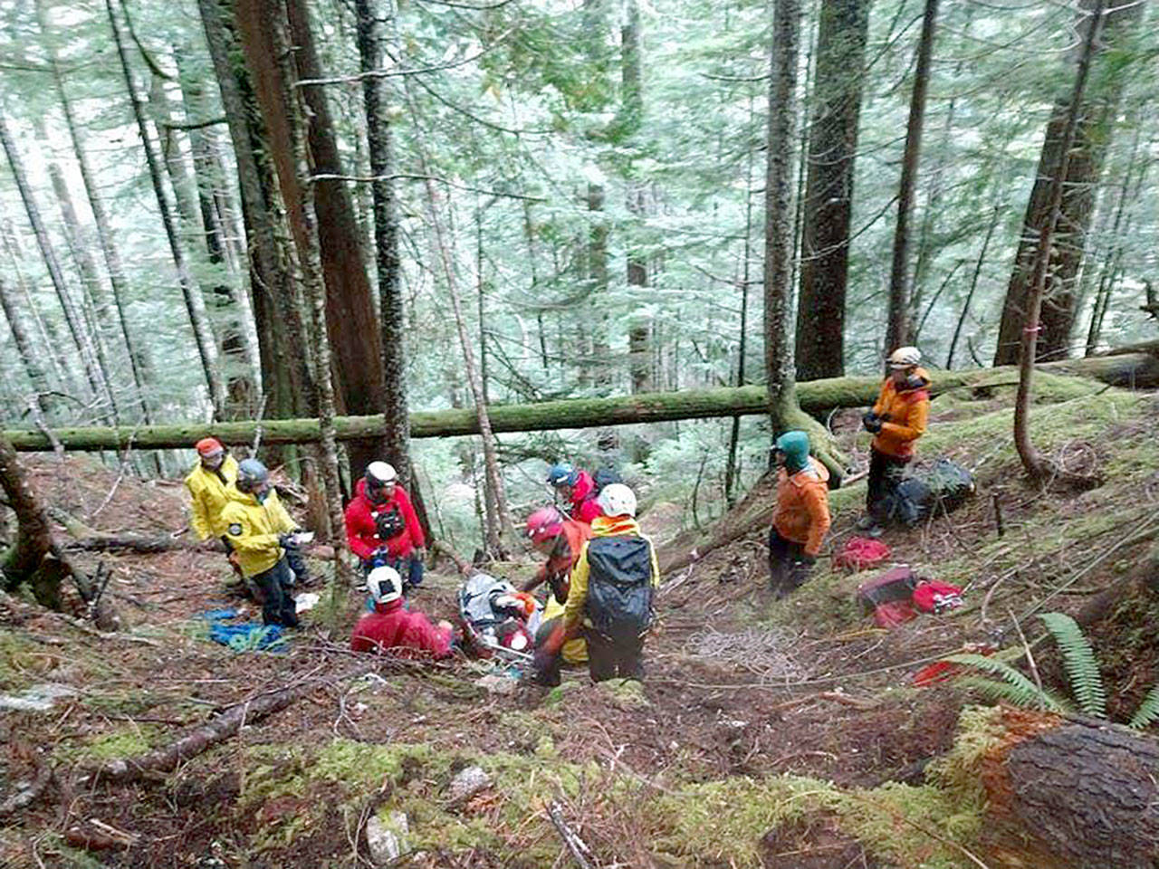 Search and rescue crews spent close to 24 hours rescuing a woman with serious injuries from the woods east of Darrington in October. (Snohomish County Sheriff's Office)
