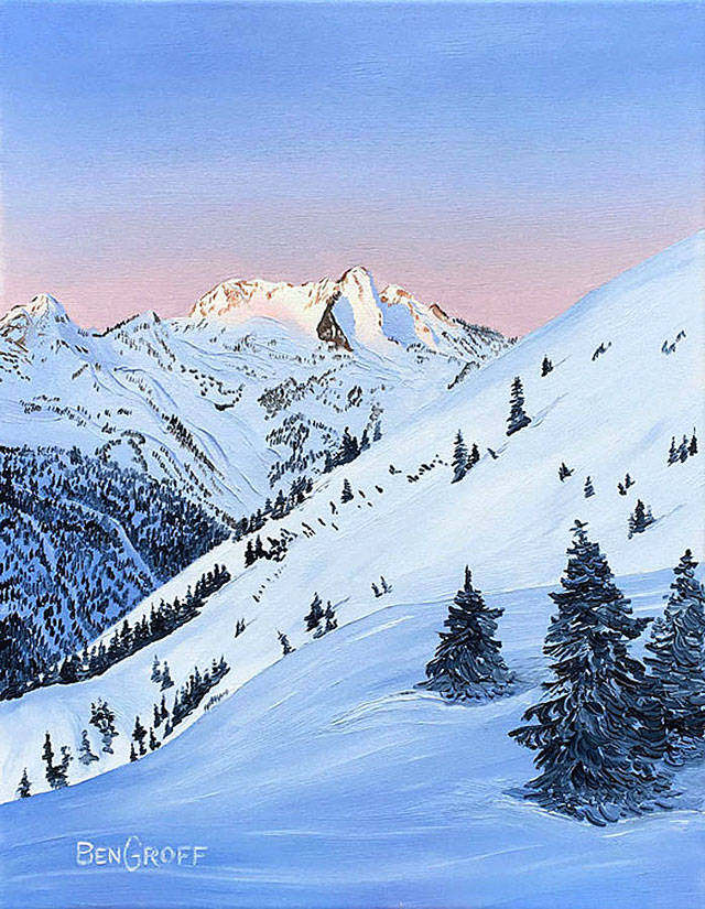 """Find Ben Groff's """"Winter Dawn"""" painting and more at the """"Gifts of the Season"""" exhibit featuring one-of-a-kind gifts at Gallery North in Edmonds."""