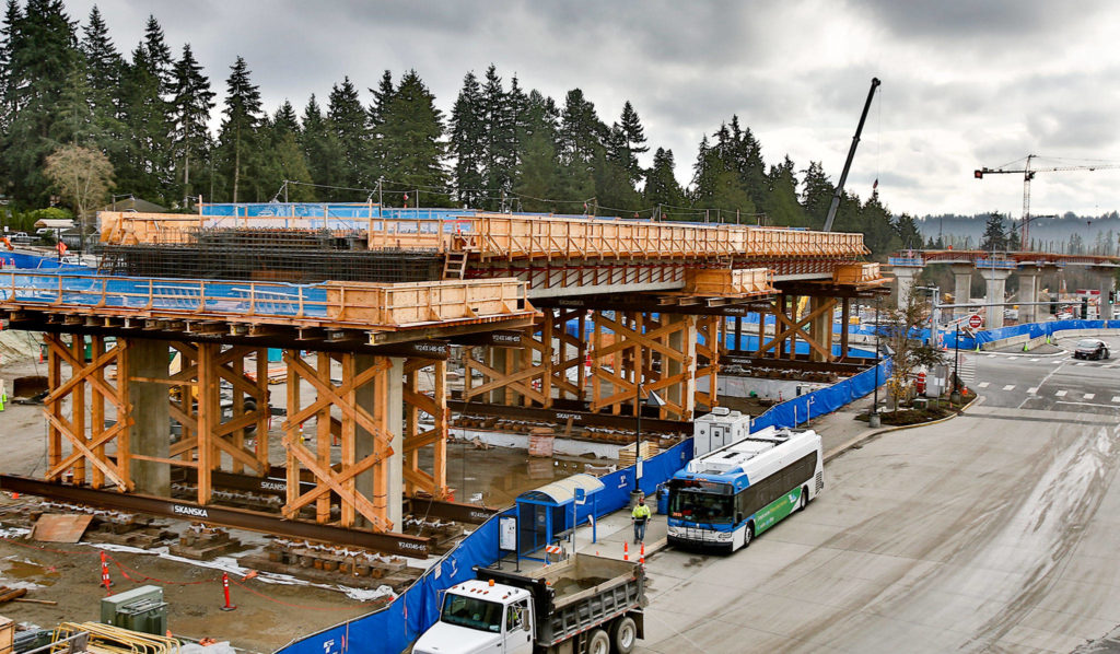 Construction in Mountlake Terrace of a light rail extension to Lynnwood. (Kevin Clark / The Herald)