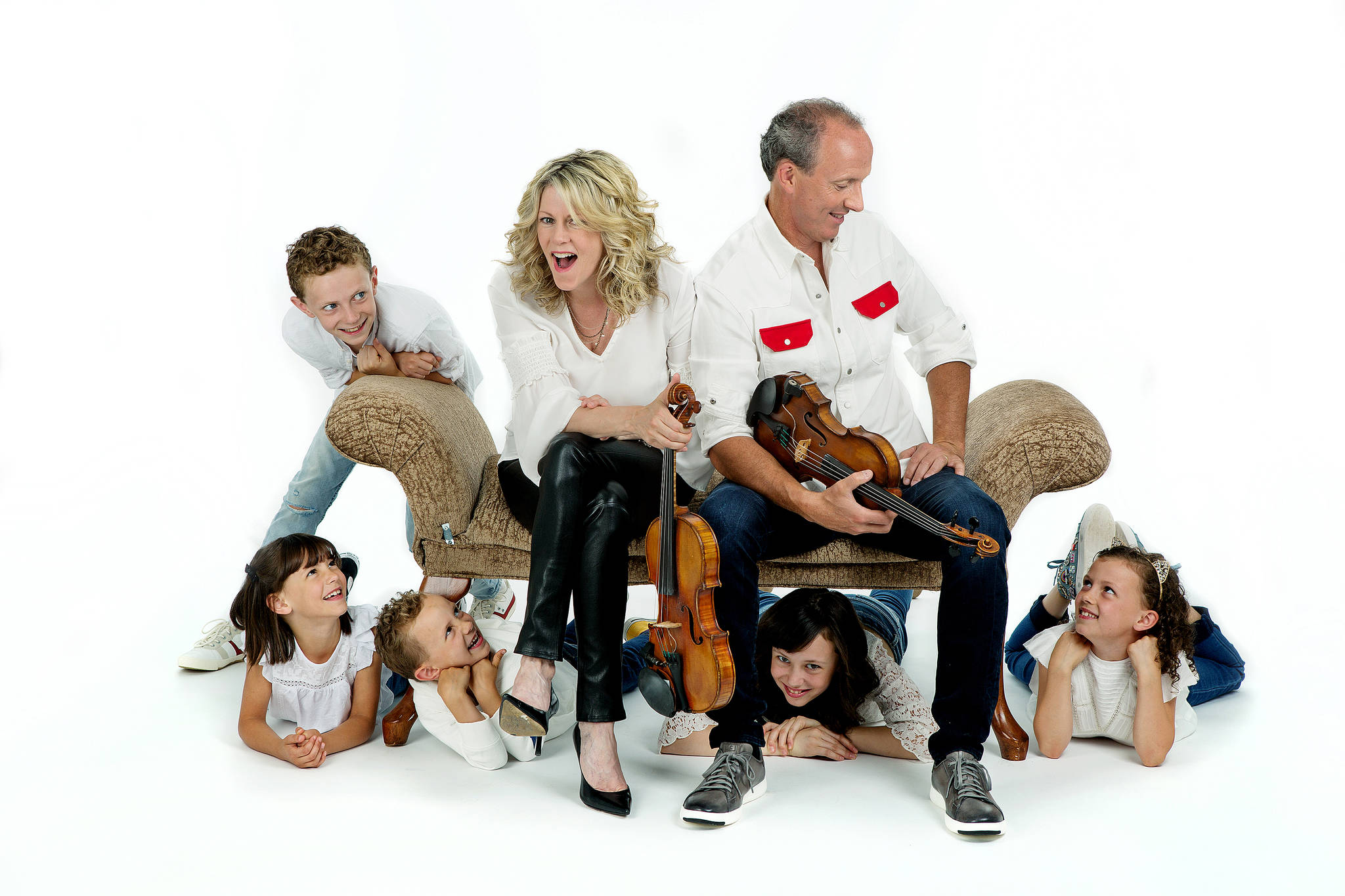 Rebekah Littlejohn Photography Natalie MacMaster and Donnell Leahy's five older children have performed a Celtic Christmas concert with them for years. New to the stage is Sadie, 6, who with their youngest child, Maria, 2, is not pictured.