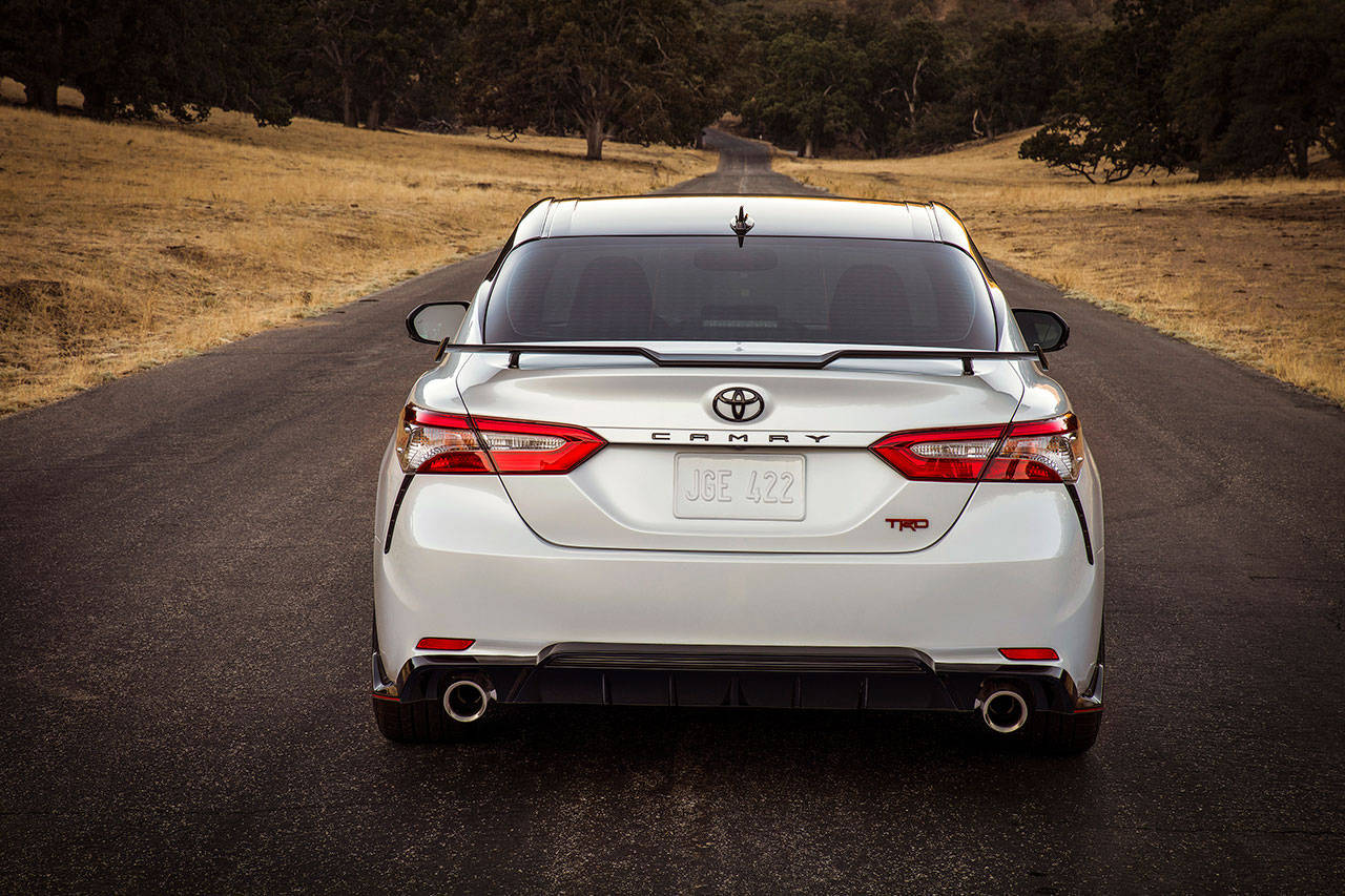 The new 2020 Toyota Camry TRD model has a lowered ride height, brawny underpinnings, and a model-specific exhaust system. (Manufacturer photo)