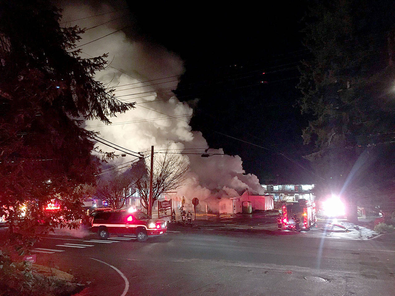The Firdale Market in Edmonds burns Wednesday morning. (Edmonds Police Department)