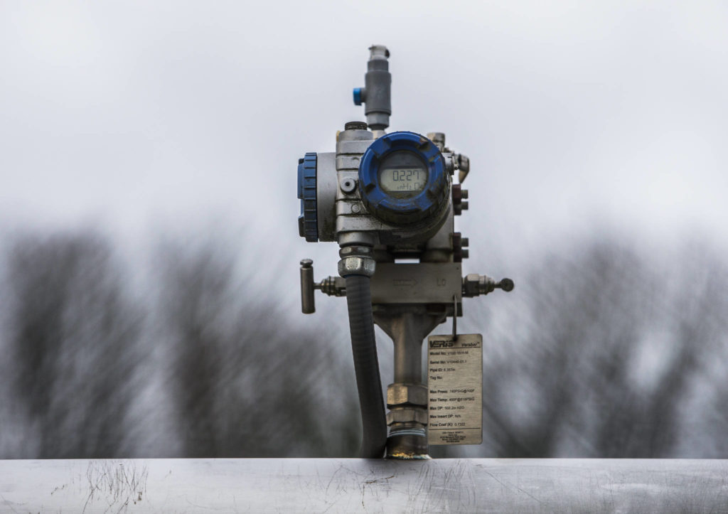 A methane meter at the Riverfront Development in Everett. (Olivia Vanni / The Herald)