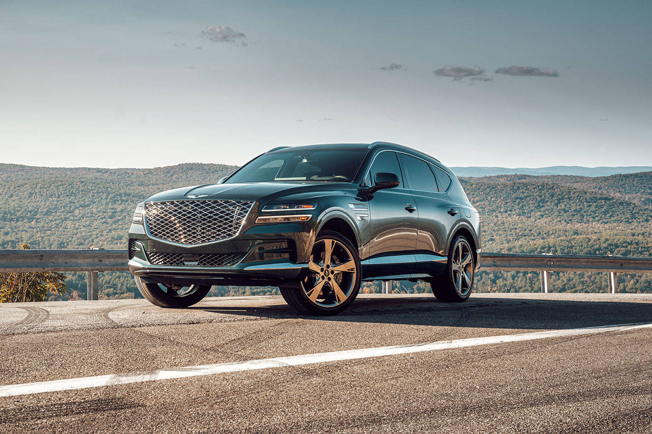 """The Genesis brand's """"athletic elegance"""" design language is applied to an SUV for the first time in the 2021 GV80. (Manufacturer photo)"""