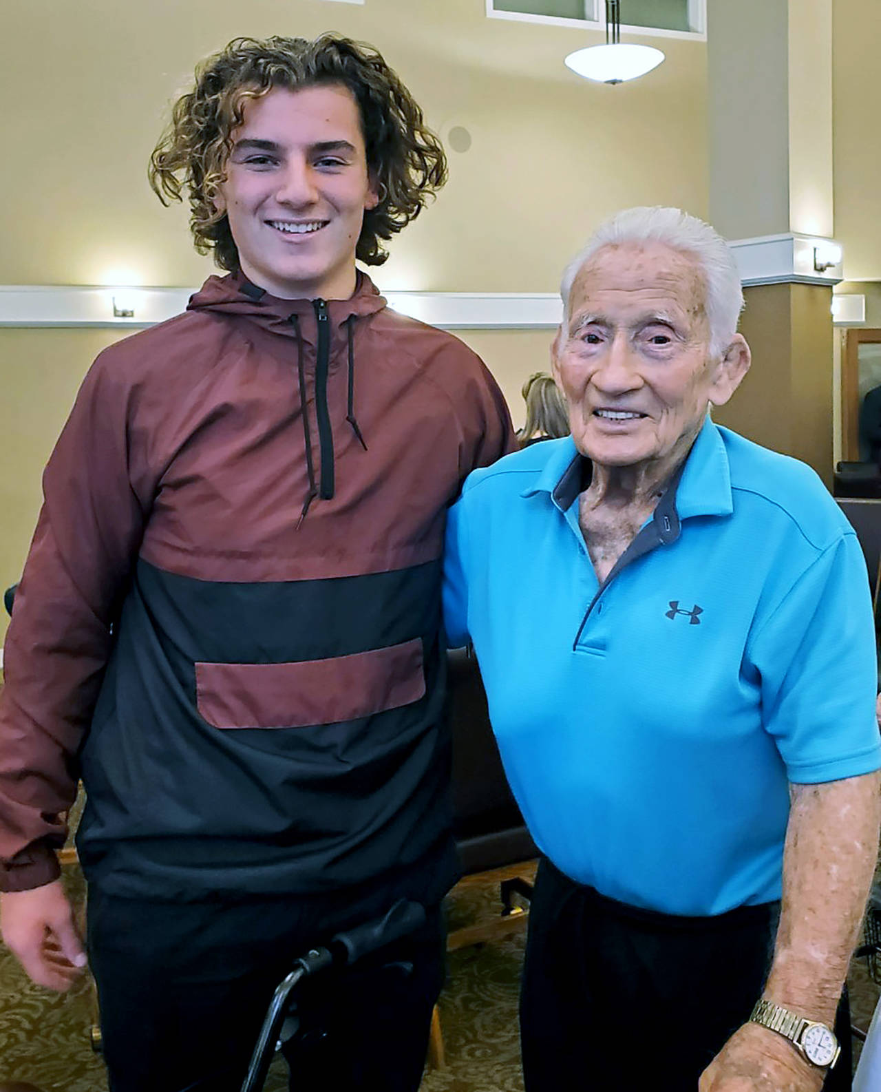 Dick Cardinal (right) with former Lakewood High School graduate, football and baseball standout Riley Krueger. (Lakewood School District)