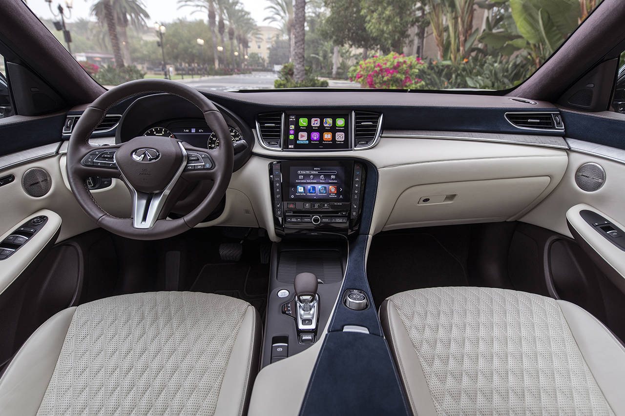 A handsome interior complements the 2021 Infiniti QX50 exterior. (Manufacturer photo)